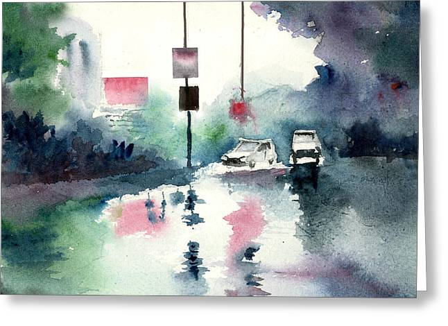 Nature Scene Mixed Media Greeting Cards - Rainy Day Greeting Card by Anil Nene