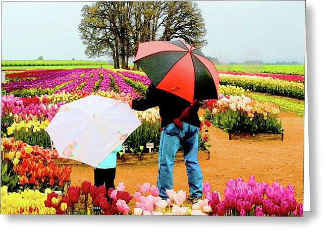 Reds Orange And Blue Greeting Cards - Rainy Day at the Tulip Farm Greeting Card by Margaret Hood