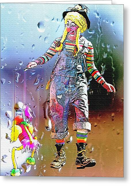 Jesters Puppet Greeting Cards - Rainy Day Clown 3 Greeting Card by Steve Ohlsen