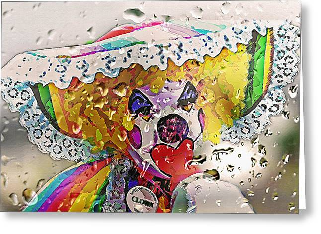Rainy Day Clown Greeting Card by Steve Ohlsen