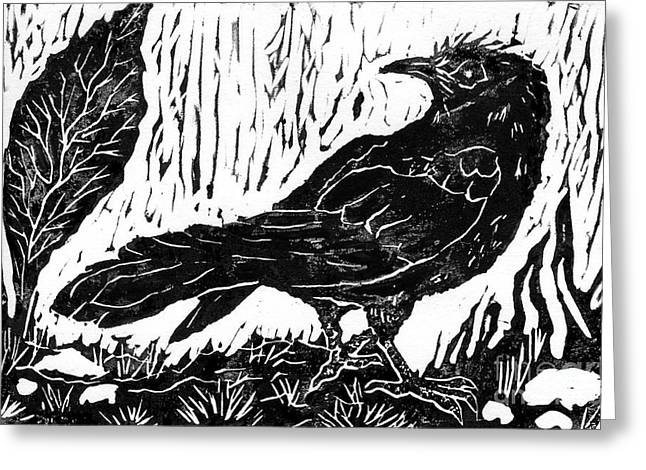Linoleum Print Mixed Media Greeting Cards - Rainy Day Crow Greeting Card by Ellen Miffitt