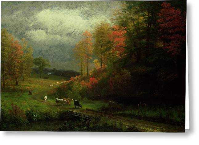 New England Autumn Greeting Cards - Rainy Day in Autumn Greeting Card by Albert Bierstadt