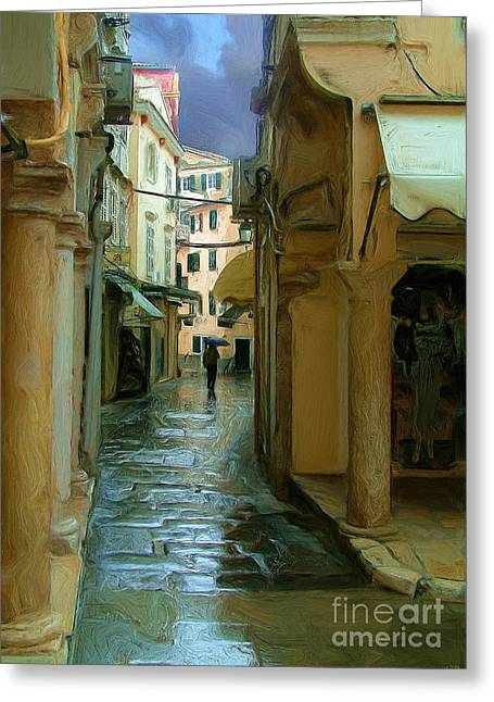 Impressionist Photography Greeting Cards - Rainy Day In Corfu Greeting Card by Tom Griffithe