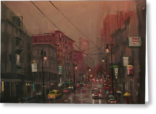 City Lights Greeting Cards - Rainy Day in the City Greeting Card by Tom Shropshire
