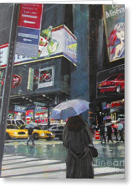 Theatre District Greeting Cards - Rainy Day in Times Square Greeting Card by Patti Mollica