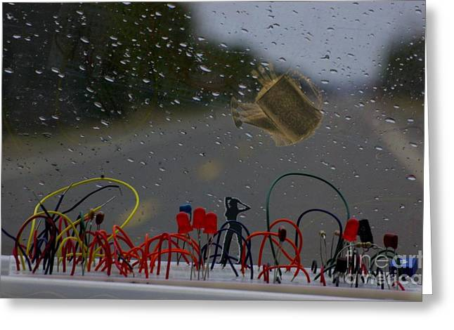 Roadway Digital Art Greeting Cards - Rainy Day Landscapes Greeting Card by The Stone Age