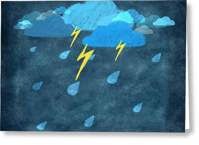 Temperature Greeting Cards - Rainy Day With Storm And Thunder Greeting Card by Setsiri Silapasuwanchai