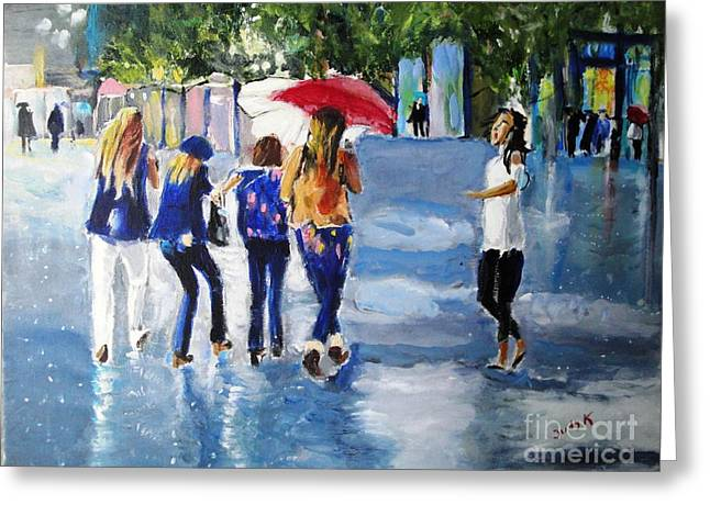 Rain Paintings Greeting Cards - Rainy Days and Mondays Greeting Card by Judy Kay