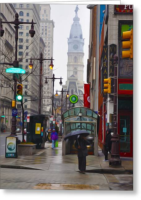 Center City Greeting Cards - Rainy Days and Sundays Greeting Card by Bill Cannon