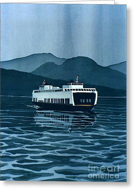 Scott Nelson Paintings Greeting Cards - Rainy Ferry Greeting Card by Scott Nelson
