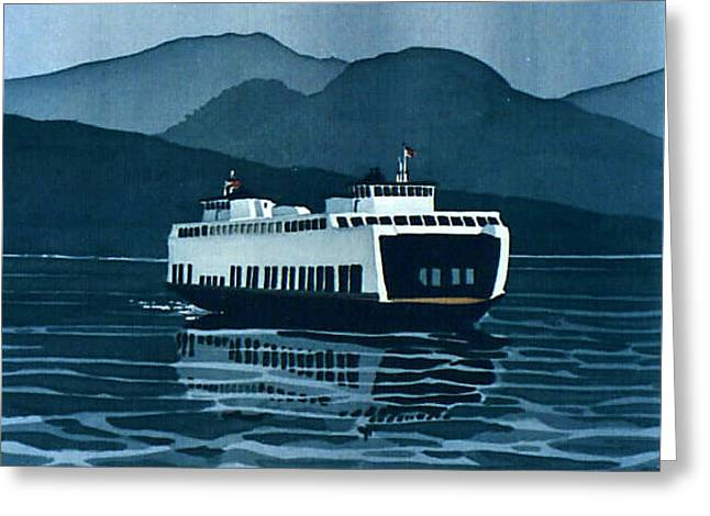 Rainy Ferry Greeting Card by Scott Nelson