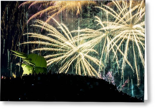 Fireworks. Kites Greeting Cards - Rainy Fireworks Greeting Card by Yoshiki Nakamura