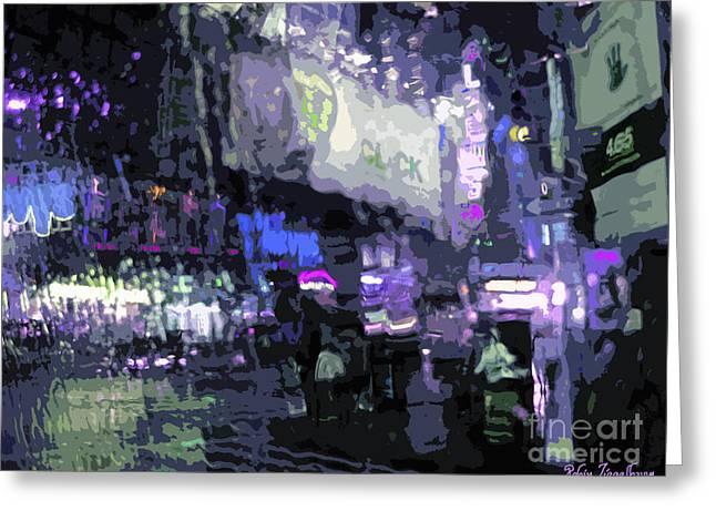 Impressionistic Market Greeting Cards - Rainy Night - 5 Greeting Card by Robin Ziegelbaum