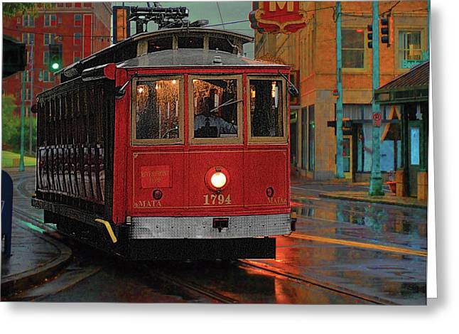 Streetcar Greeting Cards - Rainy Night in MemphisTenn Greeting Card by Don Wolf