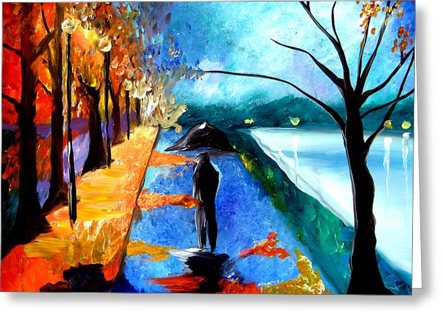 Acrylic Pastels Greeting Cards - Rainy Night Greeting Card by Tom Fedro - Fidostudio