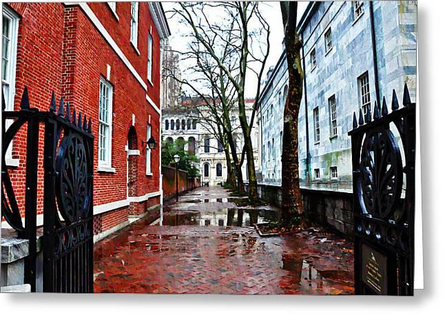 Philadelphia Alley Greeting Cards - Rainy Philadelphia Alley Greeting Card by Bill Cannon