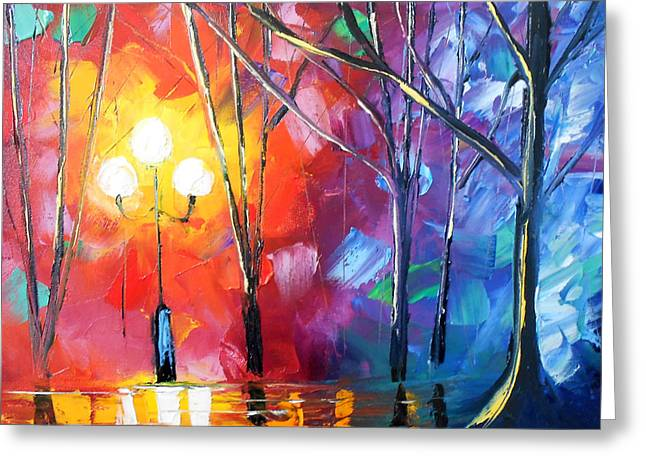Jessilyn Park Greeting Cards - Rainy Rendezvous Greeting Card by Jessilyn Park