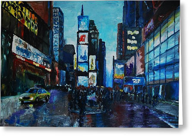 Midtown Paintings Greeting Cards - Rainy Times Greeting Card by Lauren Luna