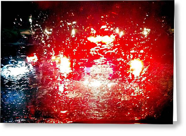 Abstract Rain Greeting Cards - Rainy window - red abstract Greeting Card by Matthias Hauser