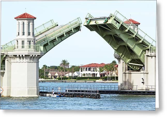 Florida Bridge Greeting Cards - Raised Bridge Greeting Card by Kenneth Albin