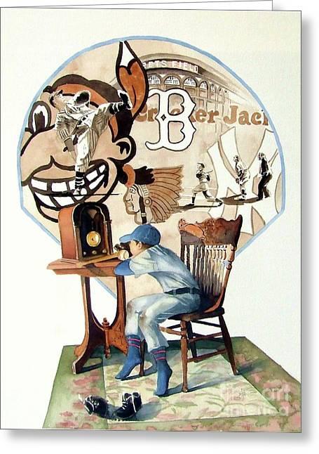 Baseball Paintings Greeting Cards - Raised on the Radio 3 Greeting Card by Greg Halom