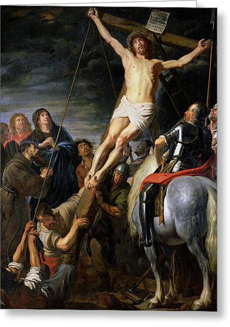 Calvary Greeting Cards - Raising the Cross Greeting Card by Gaspar de Crayer