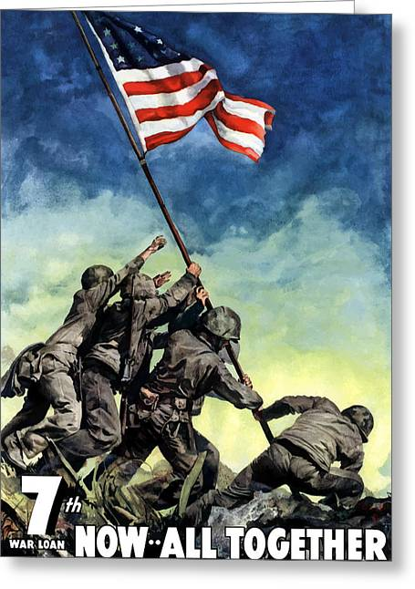 Flags Digital Art Greeting Cards - Raising The Flag On Iwo Jima Greeting Card by War Is Hell Store