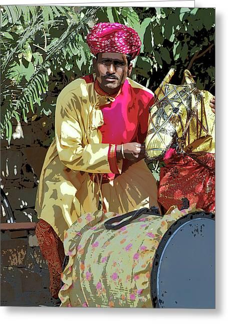 Woman Drumming Greeting Cards - Rajasthan India Puppeteer Greeting Card by Kantilal Patel