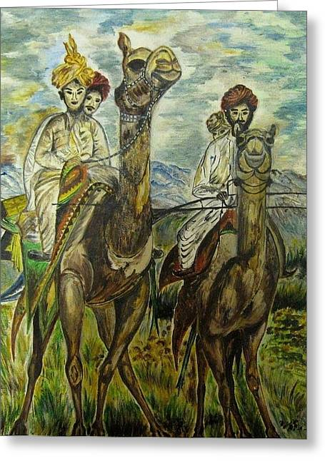 Naturalistic Greeting Cards - Rajasthani men on camels Greeting Card by Preeti