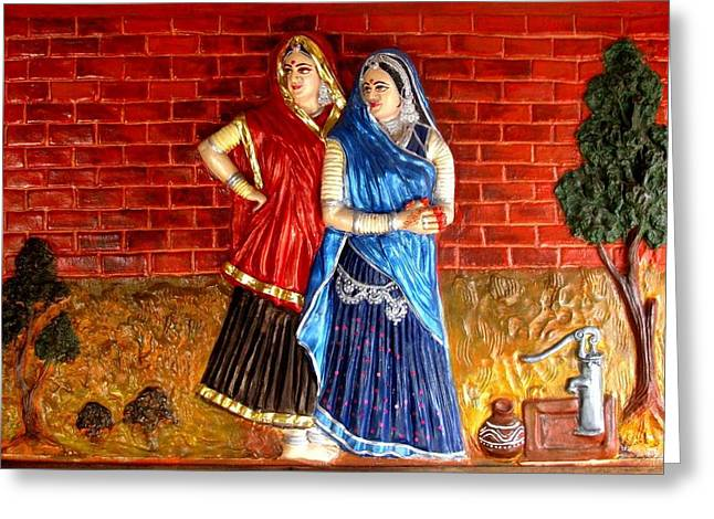 Figure Reliefs Greeting Cards - Rajsthan life Greeting Card by Bhardwaj Harinansha