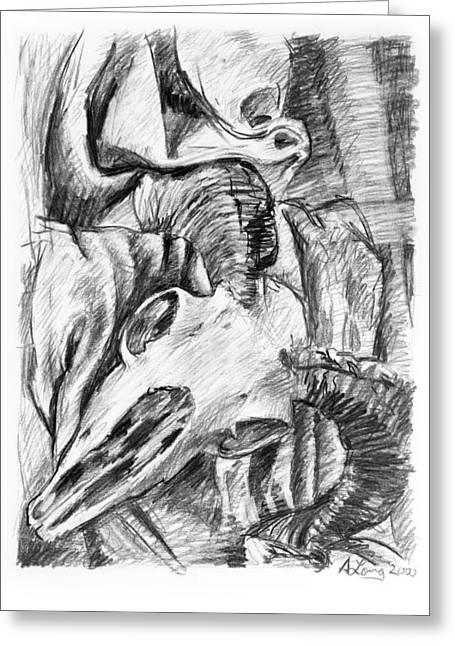 Shading Drawings Greeting Cards - Ram skull still-life Greeting Card by Adam Long