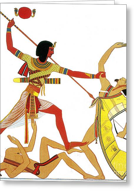 Pharaoh Greeting Cards - Ramesses Ii Impales Libyan Enemy, 12th Greeting Card by Photo Researchers