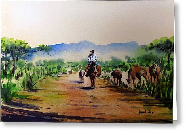 Lone Horse Paintings Greeting Cards - Rancher Greeting Card by Luis  Leon