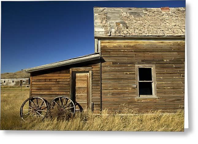 Ranchers House In Prairie Semi-ghost Greeting Card by Pete Ryan