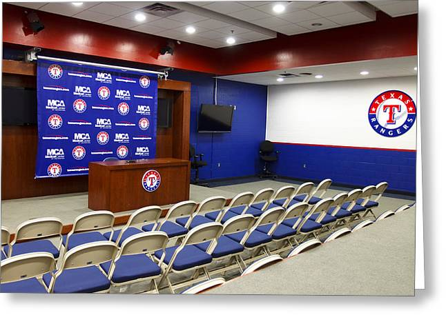 World Series Art Print Greeting Cards - Rangers Press Room Greeting Card by Ricky Barnard