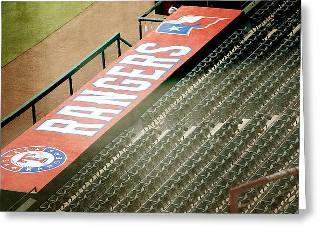 World Series Art Print Greeting Cards - Rangers Texture Greeting Card by Malania Hammer