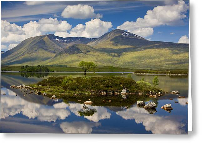 Lochan Greeting Cards - Rannoch Moor and the Black Mount Greeting Card by John McKinlay