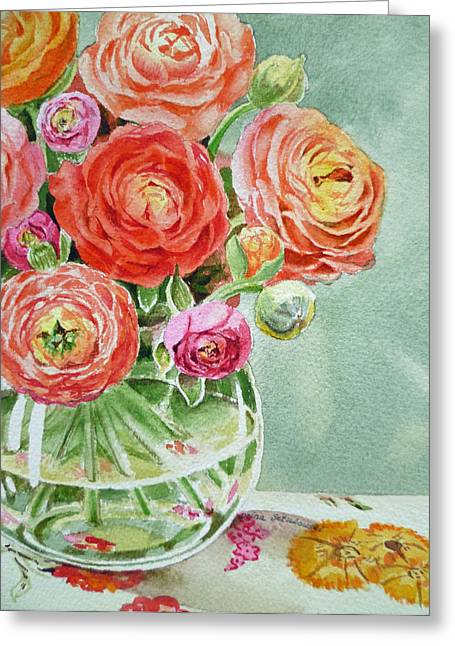 Ranunculus Greeting Cards - Ranunculus in the Glass Vase Greeting Card by Irina Sztukowski