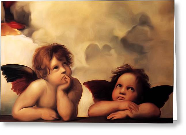 Raphael Greeting Cards - Raphaels Cherubs Greeting Card by Bill Cannon