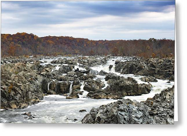 Great Falls Greeting Cards - Rapids at Great Falls Park in Autumn Greeting Card by Brendan Reals
