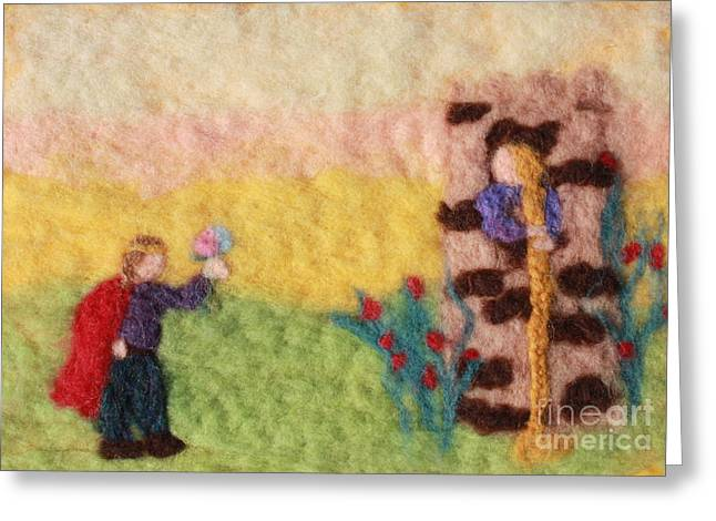 Wool Tapestries - Textiles Greeting Cards - Rapunzel Greeting Card by Nicole Besack