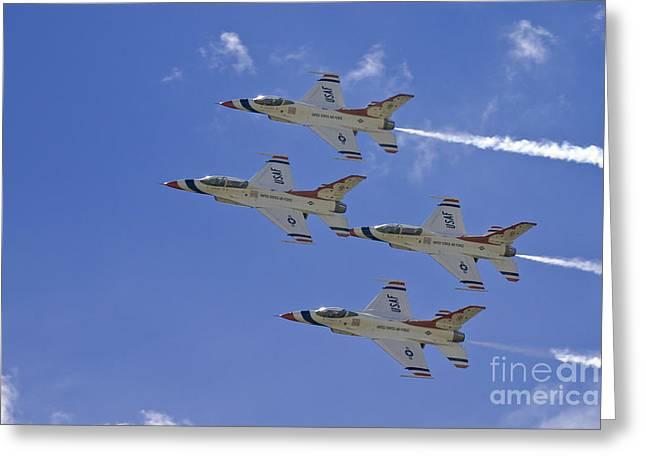 Rare Usaf Thunderbirds Diamond Pass Greeting Card by Tim Mulina