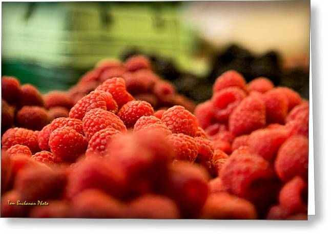 Cultivation Greeting Cards - Raspberries at the Market Greeting Card by Tom Buchanan