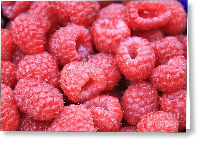 Fresh And Healthy Greeting Cards - Raspberries Greeting Card by Carol Groenen