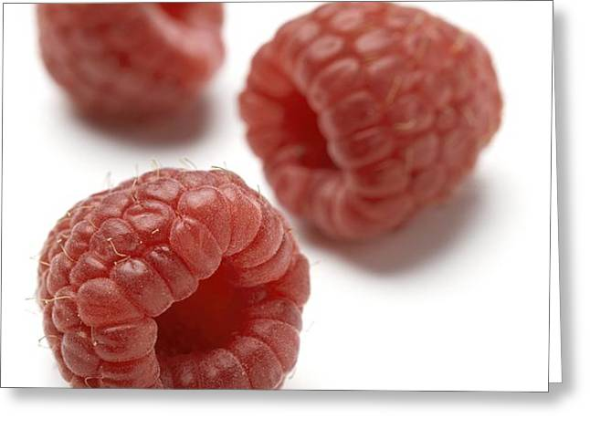 Raspberries Greeting Card by Jon Stokes