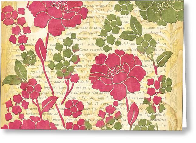 Raspberries Greeting Cards - Raspberry Sorbet Floral 1 Greeting Card by Debbie DeWitt