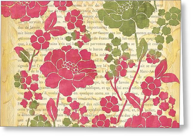 Flower Stems Greeting Cards - Raspberry Sorbet Floral 2 Greeting Card by Debbie DeWitt