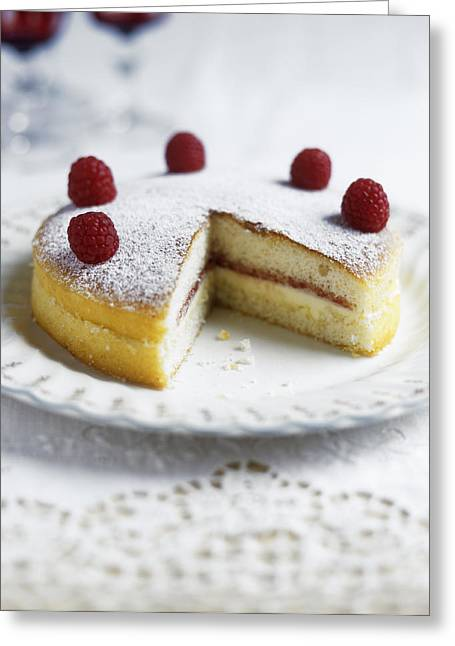 Table Cloth Greeting Cards - Raspberry Sponge Cake Greeting Card by Veronique Leplat