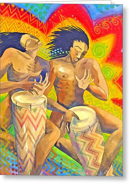 Vibrance Greeting Cards - Rasta Rythm Greeting Card by Jennifer Baird