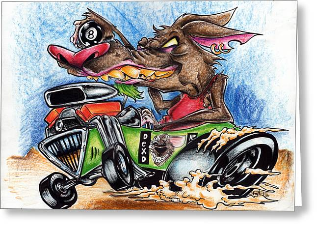 Iroatethis Drawings Greeting Cards - Rat Mobile Too Greeting Card by Big Mike Roate